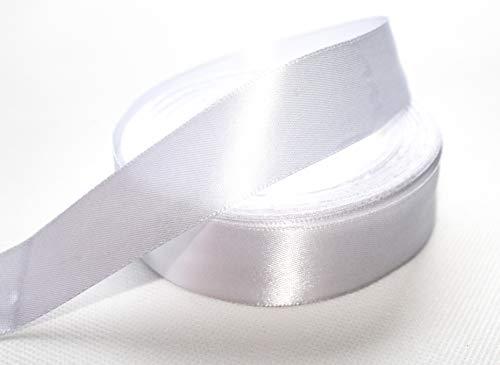 CaPiSo® 22m Satinband 25mm Breite 2,5cm Schleifenband Geschenkband Dekoband Weihnachten Hochzeit (Weiss, 22m)