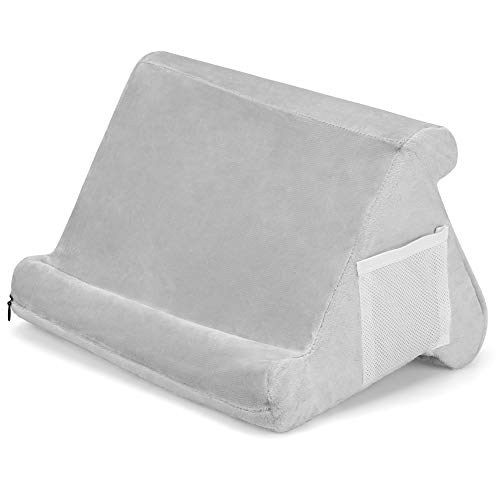 Foldable Tablet Soft Pillow Phone Pillow Lap Stand Book Rest Reading Support Cushion for iPad, Foldable Triangular, Used On Bed, Desk, Car, Sofa, Lap, Floor, Couch, Multi-Angle Soft Pillow (Grey)