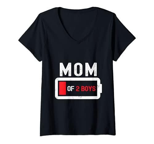 Mujer Mamá de 2 niños regalo batería baja Día de la Madre Camiseta Cuello V
