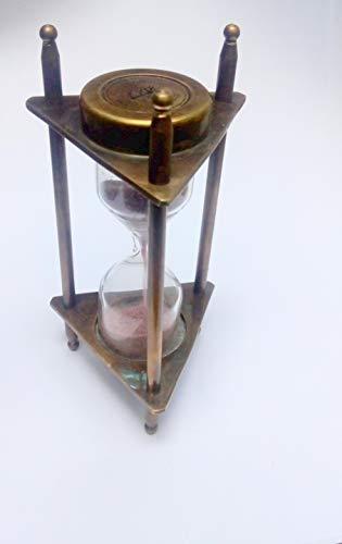 Nautical World - Temporizador de arena (latón macizo, 1 min), diseño de reloj de arena