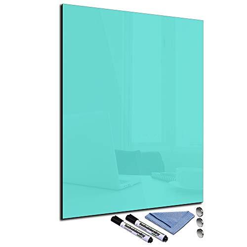 Glas-Magnettafel Türkis 60x80 Pinnwand Wand mit Zubehör Whiteboard Küche Deko