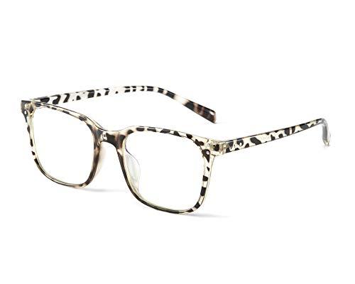 Effnny Bloqueo de luz azul Gafas anti fatiga filtro UV juegos de computadora monturas de gafas de lectura Para hombres mujeres 5025 (leopardo)