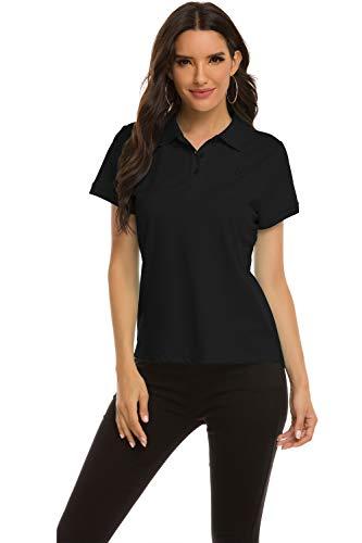 MoFiz Damen Poloshirt Kurzarm Baumwolle Polohemd Sport Polo Sommershirts Atmungsaktiv Schwarz S