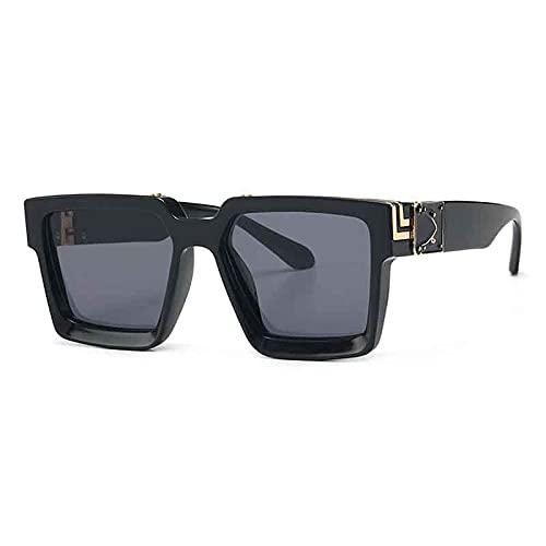 WANGZX Gafas De Sol Cuadradas Retro Gafas De Sol Populares para Mujer Gafas De Sol para Hombre Gafas De Moda Uv400 para Mujer Negro-Negro