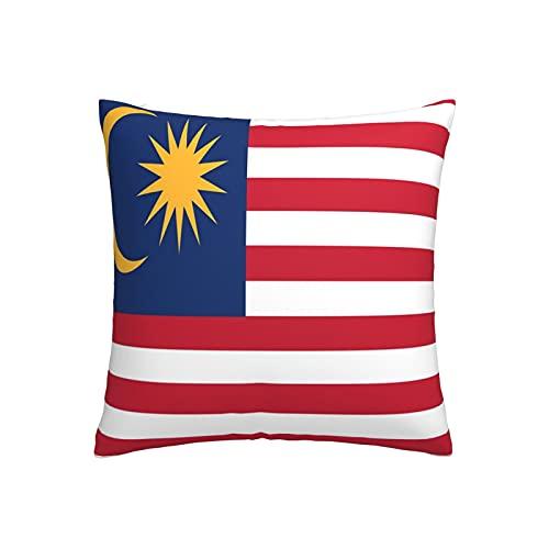 Kissenbezug mit Malaysia-Flagge, quadratisch, dekorativer Kissenbezug für Sofa, Couch, Zuhause, Schlafzimmer, drinnen & draußen, niedlicher Kissenbezug 45,7 x 45,7 cm