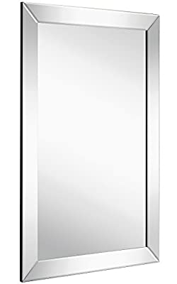 Large Flat Framed Wall Mirror with 2 Inch Edge Beveled Mirror Frame | Premium Silver Backed Glass Panel | Vanity, Bedroom, or Bathroom | Mirrored Rectangle Hangs Horizontal or Vertical