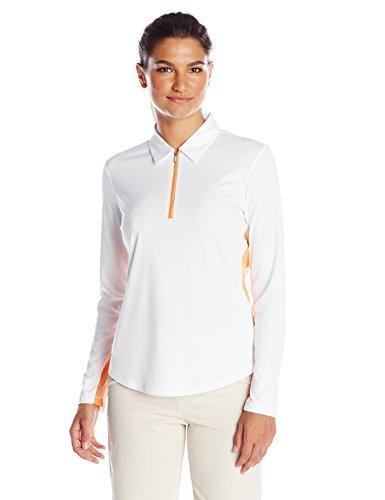 Greg Norman Collection Women's Zip Mesh Panel Polo Shirt, White, 3X-Large