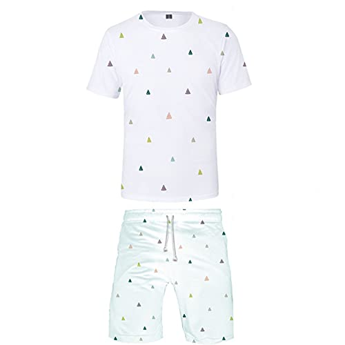Verano Unisex Camisetas Impresas en 3D Tops Casuales de Manga Corta y Shorts de Baño para Hombre Bañadores Shorts de Playa(Blanco 7,XXS)
