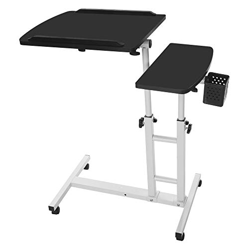 Fine Adjustable Height Laptop Desk, Standing Folding Laptop Cart, Sit Stand Mobile Desk with Height, Ergonomic Design, Excellent Lectern for Classrooms, Offices, and Home (Black)