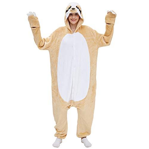 JXILY Pijama de Animales, Pijamas de una Pieza de Animales de Dibujos Animados de Pereza Disfraz de Padre e Hijo Cosplay o Pijama Adecuado para Exteriores,Beige,95/110