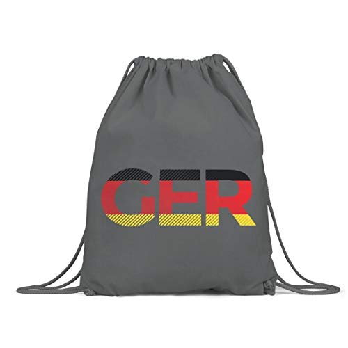 BLAK TEE Germany Deutschland Flag Organic Cotton Drawstring Gym Bag Grey