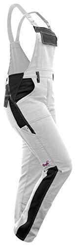 strongAnt Arbeitslatzhose für Frauen   Latzhose und Hosenträger  Stretch-Baumwoll-Arbeitskleidung für Frauen   Weiße & schwarz Arbeitshose mit weiße Nähten - Größe23
