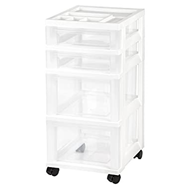 IRIS 4-Drawer Rolling Storage Cart with Organizer Top, White