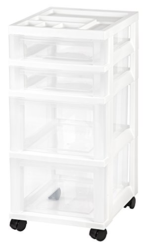 IRIS USA, Inc. MC-322-TOP NEW MINI CHEST, 4 Drawer, White