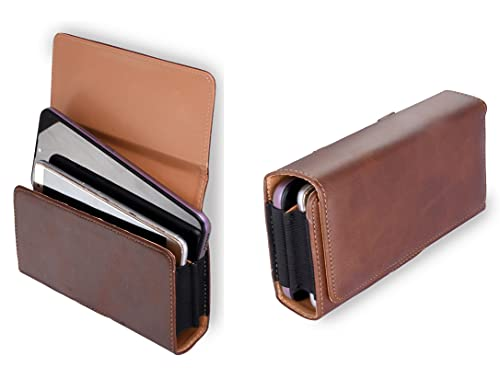 HITFIT Double Mobile Leather Anti Theft Cellphone Belt Loop Holster Magnetic Cover for ZTE Nubia Z17 miniS/ZTE Blade V9 / ZTE Tempo X – Coffe Brown