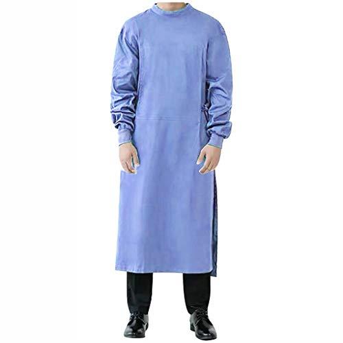 CRE87 Mann und Frauen OP-Kittel Mantel für OP-Bereich Isolationskleid mit elastischer Stehkragen Schutzisolationskleider Stillkleid Staubfreie Arbeitskleidung Schutzkleidung(B Blau XXL)