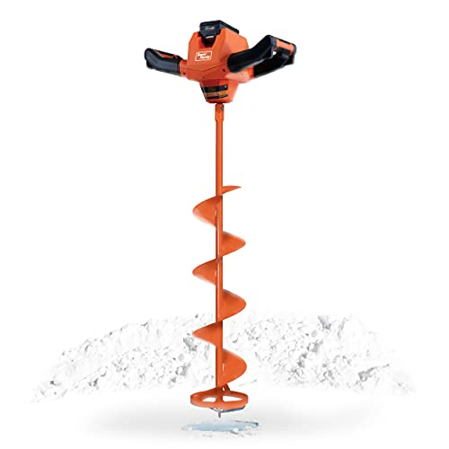 SuperHandy Ice Auger Power Head w/Steel 8'x39' Bit Ultra Duty Eco-Friendly Electric Cordless Lithium-Ion Battery & Charger for Ice Burrowing/Drilling & Ice Fishing (Ice Auger 8' Set)