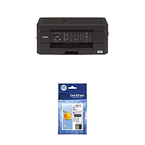 Brother MFCJ491DWG1 4-in-1 Tinten-Multifunktionsgerät  6.000 x 1.200 dpi mit Faxfunktion und 20 Blatt ADF + Patrone LC-3211VALDR DCP-J772/4DW, MFC-J890DW
