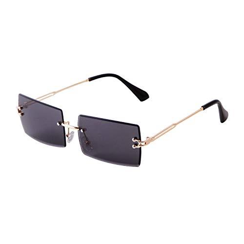 Mode Rahmenlose Sonnenbrille für Frauen Männer, Ultrakleine Retro Rechteck Gradient Lens Rimless Eyewear, Quadratische durchsichtige Sonnenbrille