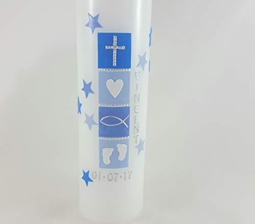 Taufkerze modern, Handarbeit, blau, schlicht, mit Sternen, Größe auswählbar