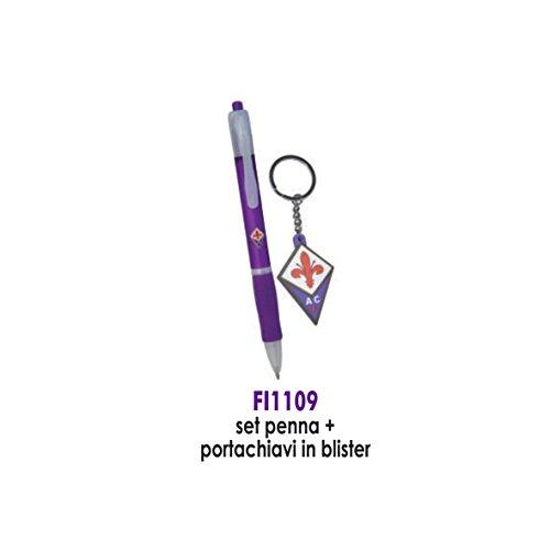 Giemme articoli promozionali - Set Penna E Portachiavi Fiorentina Prodotto Ufficiale Idea Regalo Calcio Novita'