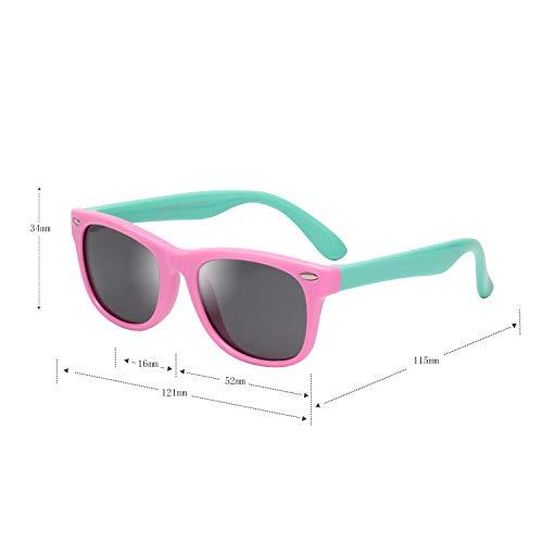 (レンサン) LianSan子供用サングラス 偏光レンズ 赤ちゃん用 男の子と女の子兼用 柔軟なフレーム 安心 かわいい UV400 紫外線対策 UVカット (ピンク ブルー)