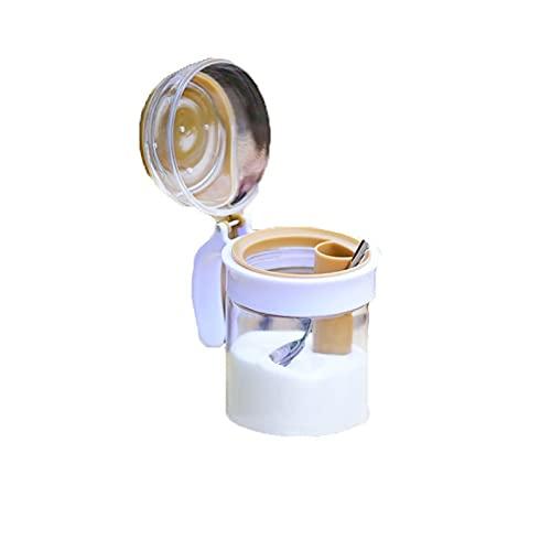 Yuxahiugxlg Caja de condimentos de vidrio con tapa y cuchara para cocina, diseño transparente, claro de un vistazo