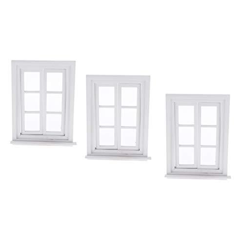 SM SunniMix 3pcs 1/12 Puppenhaus Möbel - Miniatur Holz Fenster Modell - Weiß