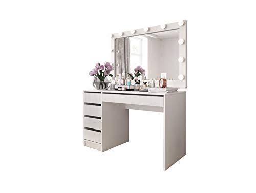 LUK Furniture Schminktisch MADA Spiegel Tisch Schreibtisch mit Spiegel Glamour-Schubladen Weiβ Hochglanz Make Up