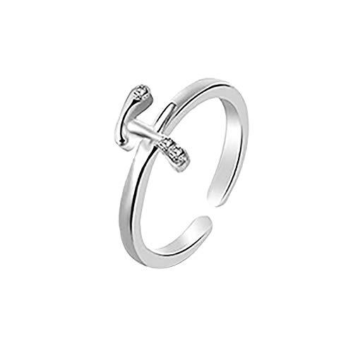 Janly Clearance Sale Anillos para mujer, 26 letras inglesas, diseño de letras en inglés, regalo para parejas, conjuntos de joyas, día de San Valentín (F)