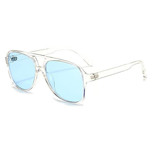 RUNHUIS Gafas de sol polarizadas para hombre y mujer, estilo retro de los años 70, estilo aviador, azul transparente,