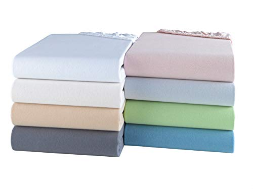 BaSaTex Sábana bajera de algodón orgánico 100% certificado GOTS | Sábana bajera ajustable en todos los tamaños | camas de agua y somier de 38 cm de altura 180 x 220 – 200 x 220 cm | Natural