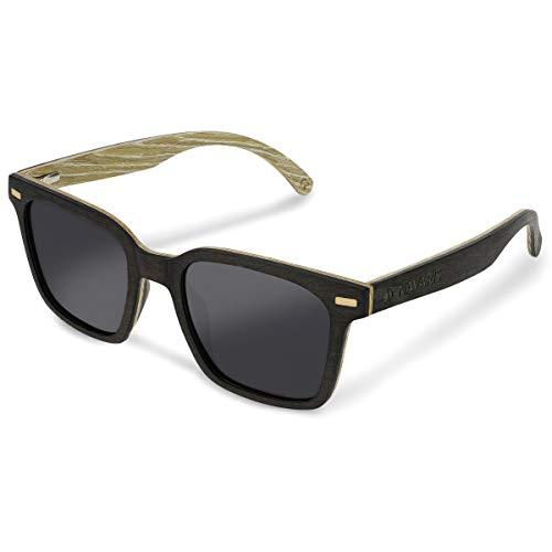 Navaris Gafas de sol de madera con filtro UV - Marco de madera multicapa - Lentes polarizadas grises - Estuche de corcho - Gafas de sol retro unisex 🔥