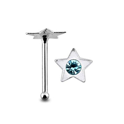 Sterne Licht Blau Kristall Stein Top 22 Gauge 925 Sterling Silber Nase Knochen Stud Piercing