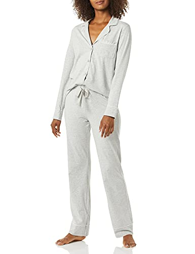 Amazon Essentials Conjunto de Pijama de algodón Modal de Manga Larga con pantalón de Longitud Completa, Gris Mezcla, M