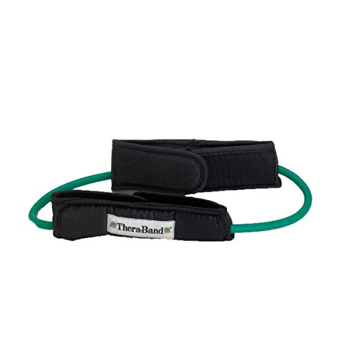 TheraBand Resistance Tubes, Professional Latex Elastic Tubing with Handles For Physical Therapy, Lower Pilates, At-Home Workouts, & Rehab, 12 Inch With Padded Cuffs, Green, Heavy, Intermediate Level 1