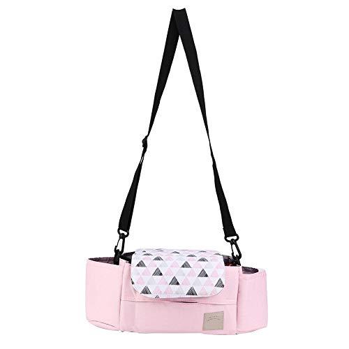 Borsa da viaggio universale per passeggini per neonati con organizer per passeggini, con portabicchieri e tasche portaoggetti(Rosa)