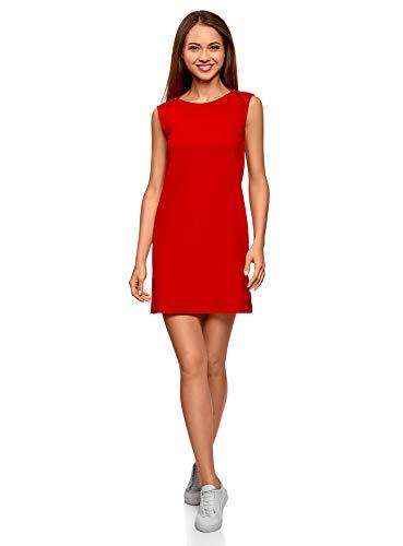 oodji Ultra Damen Gerade Geschnittenes Pique-Kleid, Rot, DE 38 / EU 40 / M