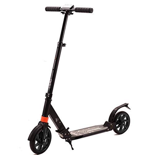 WYQ Scooter de cercanías for jóvenes de hasta 12 años/Adultos, Patinete de aleación de Aluminio, Scooters de Empuje Duradero, Soporte de 150 kg, Scooter de Altura Ajustable (Color : Negro)