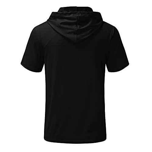 Camiseta de manga corta con capucha para hombre, verano, informal, bolsillos con capucha, manga corta, blusa, suéter