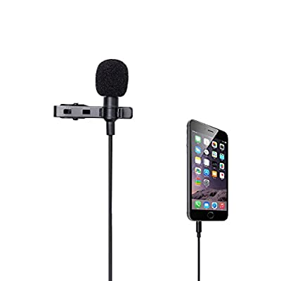 Microphones,Clip-On Microphone,LANMU portable Lavalier Lapel Microphone for iPhone/Samsung/Smartphone suitable for Audio Recording/Podcast/Interviews/Video Conference/Blogger/Live Singing