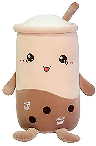 PALMS HOME DECOR PHD 19.6' Brown Bubble Tea Plush Pillow - Stuffed Cartoon - Cylindrical Body Pillow -Cup Shaped Pillow, Super Soft Hugging Cushion Realistic Lifelike - Plush Food Gifts for Kids
