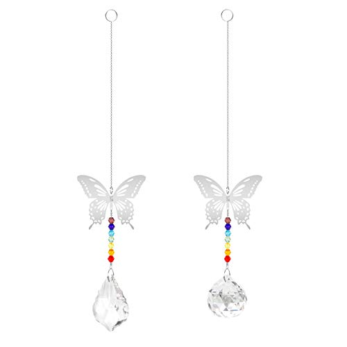 Huayue 2 Pcs Bolas Colgantes de Cristal Bolas de Prisma Bola Cristal Atrapasol de Cristal Bola de Crista con Mariposa Colgantes para Cortina Ventana Decoración Jardín Hogar Bodas y Fiestas (2 Tipos)