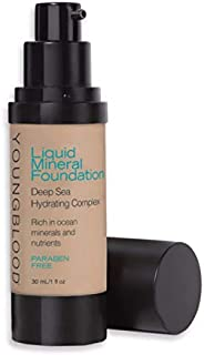Youngblood Clean Luxury Cosmetics Liquid Mineral Foundation, Sun Kissed | Dewy Mineral Lightweight Full Coverage Makeup for Dry Skin Poreless Flawless Tinted Glow | Vegan, Cruelty-Free, Gluten-Free
