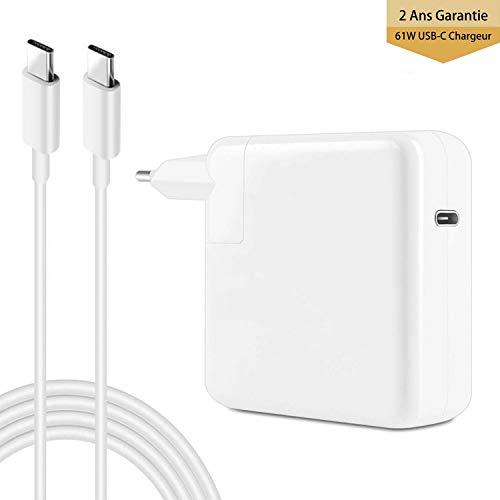 Ywcking Chargeur Macbook Pro USB C 61W Compatible avec Nouveau Macbook 13 Pouces 2016 2017 2018 2019, avec 2M C-USB-C câbles de Chargeur.