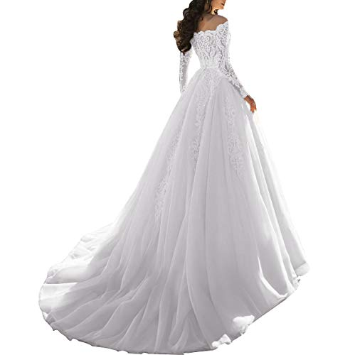 PearlBridal Women's Lace Off Shoulder Wedding Dress Long Sleeves Illusion Tulle Long Bridal Gowns White Size 16