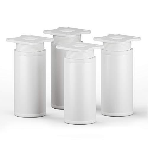 sossai® Patas para muebles MFR1 | 4 piezas | altura regulable | Diseño: Blanco | Altura: 80 mm (+20mm) | Perfil redondo: 40 x 40 mm |Tornillos incluidos