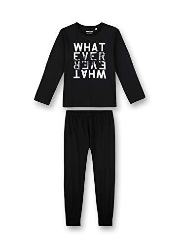 Sanetta Jungen Schlafanzug lang schwarz Pyjamaset, super Black, 164