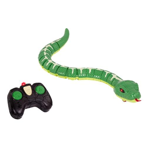 Terra Ferngesteuerte Schlange Grün – RC Boa mit leuchtenden LED Augen und Fernbedienung – Spielzeug ab 6 Jahre