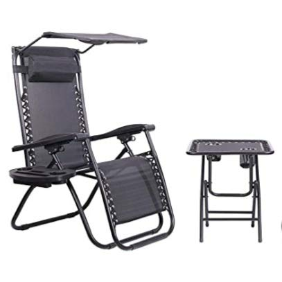 Zero Gravity Metal Sun Lounger with Table, Sun Shade & Cup Holder - Black: Premium Heavy Duty 2020 Model (Reclining Outdoor Garden Deck, Beach Chair)